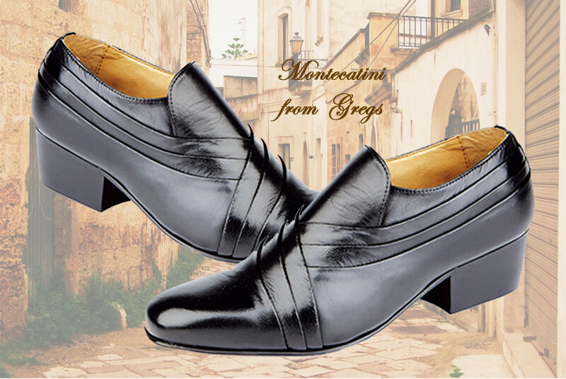 Montecatini Mens Italian Styled Leather Slip On Cuban Heel shoes Sizes 6 -12