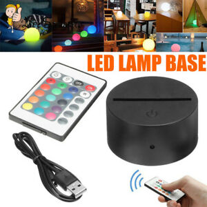 Remote Control Abs Acrylic Black 3d Led Lamp Night Light Base With