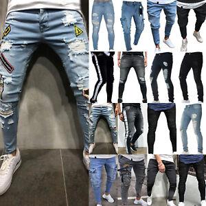 Jeans-Hommes-Slim-Fit-Pantalons-Stretch-Denim-Skinny-Frayed-loisirs-pantalons-motard