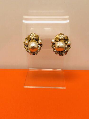 Miriam Haskell 1950's Pearl Earrings