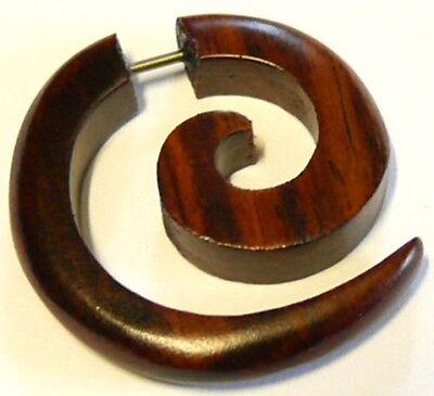 WOOD EARRING PIERCING WOODEN TRIBAL GAUGE EAR FAKE EXPANDER Brown spiral