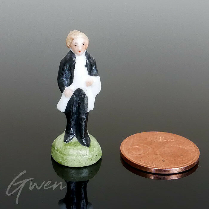 Antique Miniature 1.5  Bisque Victorian Man Germany Figurine Hertwig & Co Doll