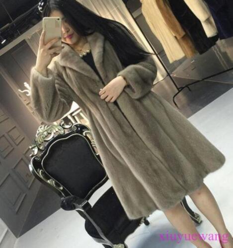 Mink Fur Long Womens Coat Lapel Thicken Winter Jackets Warm Parka A