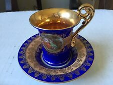 "Vintage Porcelain ""MADONNA"" Coffee Cup w/ Saucer in Cobalt Blue and Gold GDR"