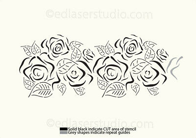 repeating flowers Flower chain border pattern stencil 190 micron mylar floral