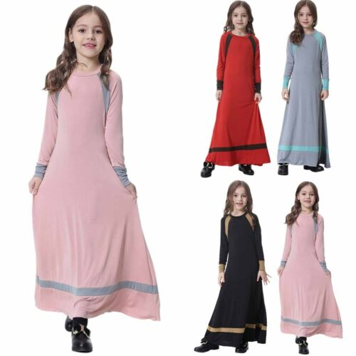 Muslim Girls Maxi Dress for Kids Long Sleeve Holiday Abaya Islamic Kaftan Gown