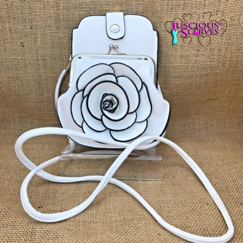 White Rose Purse Small bag with Phone Spectacles Holder Long /& Short Straps