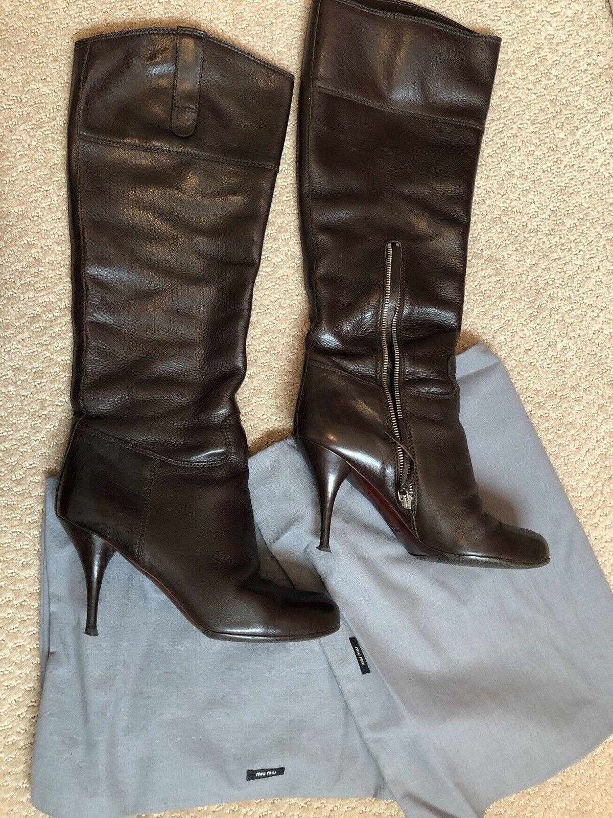 Miu Miu Prada brown leather high heel boots Made in  39 B IT 8-8.5 US