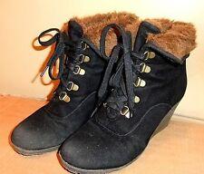 Buffalo Keil Sneaker Wedges schwarz mit warmen Fell Gr 38