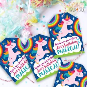 9 x personalised unicorn magical rainbow gift tags birthday party