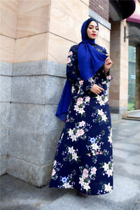 Women-039-s-Muslim-Islamic-Abaya-Traditional-Flower-Long-Sleeve-Maxi-Vintage-Dress
