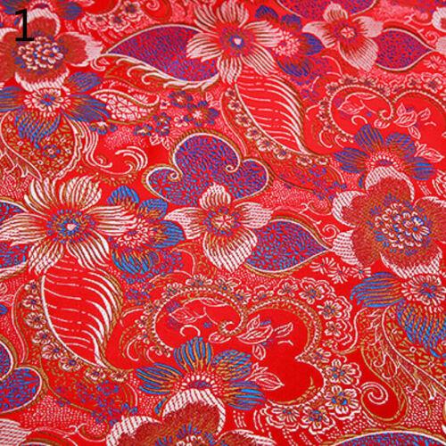 Chinesisch Brokat Stoff Damast Kunstseide Jacquard Tücher Blumen 100 75cm Neu