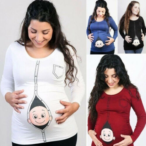 Women Maternity Baby Peeking T Shirt Funny Pregnancy Tee Expecting Mothers Tops