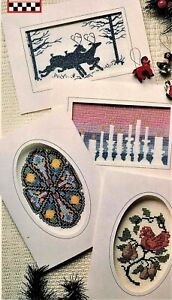 4-Christmas-Ornaments-Cards-Cross-Stitch-Chart-Stained-Glass-Partridge-Candle
