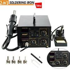 852d 2in1 Soldering Rework Stations Smd Hot Air Amp Iron Gun Digital Display 110v