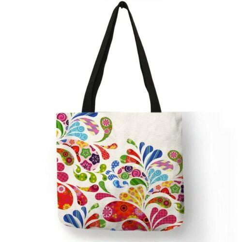 Fairy Wish Girl Print Linen Reusable Shopping Bags Tote Bags Eco Shoulder Bag