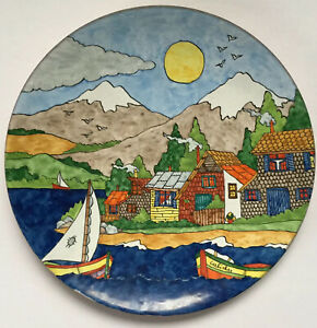 Colorful-Enamel-Copper-Wall-Art-Hanging-Plate-Caliche-Chile-Seaside-Resort