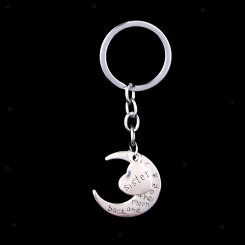 Silver Family I LOVE YOU TO THE MOON AND BACK Heart Key Ring Chain Keyring Gifts