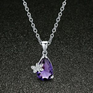 Special-Gift-Butterfly-Mystical-Purple-Amethyst-Gemstone-Silver-Necklace-Pendant