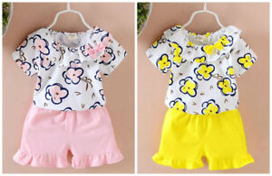 Toddler-Kids-Baby-Girls-summer-Clothes-T-shirt-short-Pants-sweet-Outfits-flower