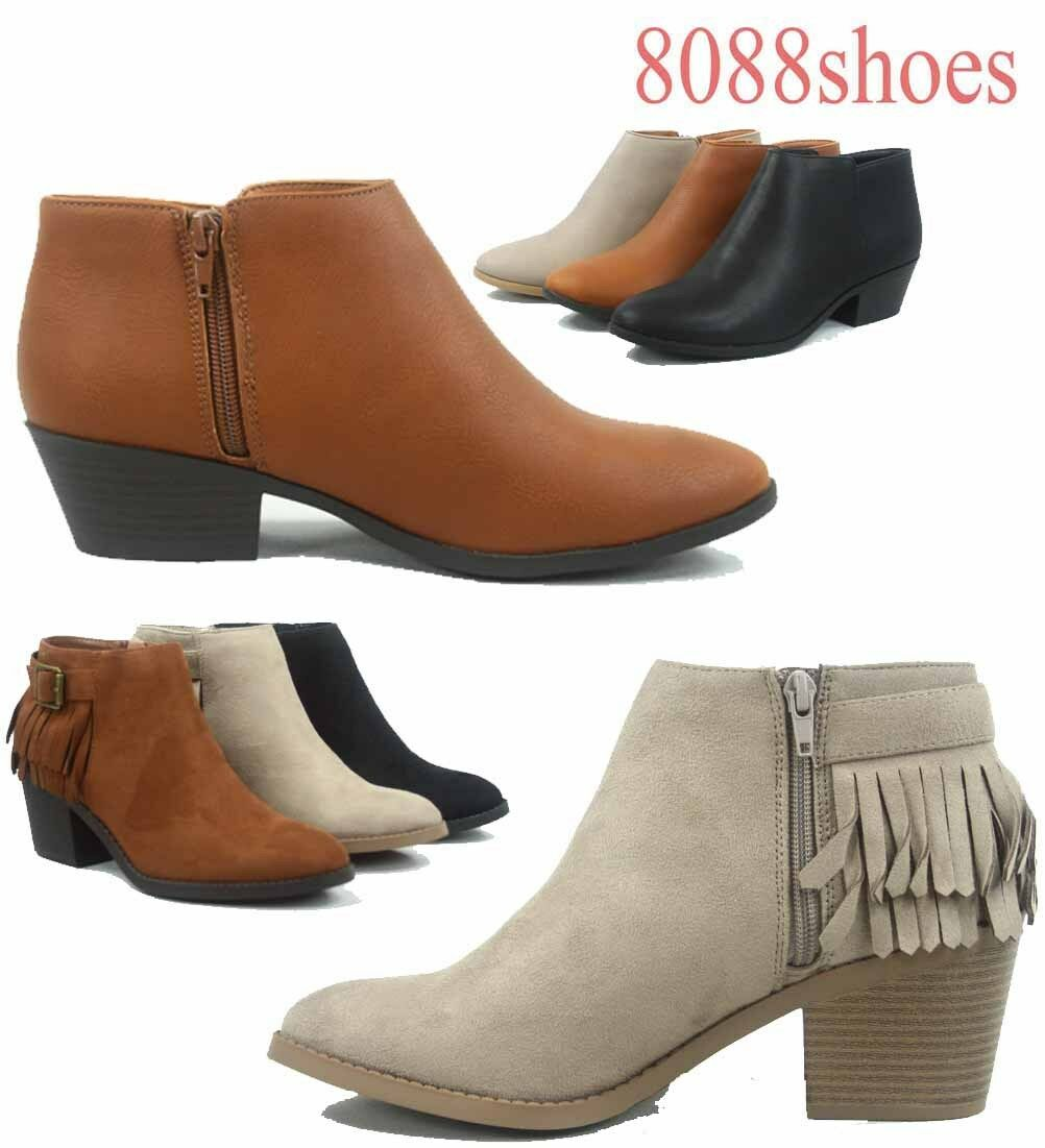 Women's Fashion Fringe Silp On Zip Low Heel Ankle Booties Shoes Size 6 - 11 NEW
