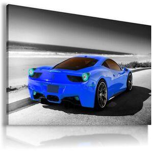 FERRARI ITALIA BLUE Cars Large Wall Art Canvas Picture AU332 MATAGA .