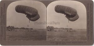 Airship-French-France-Big-Large-Guerre-WW1-Stereo-Stereoview-Vintage-Argentiqu