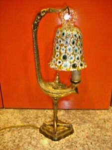 Old Bronze Italy Millefiori Glass Bird Lamp Ebay