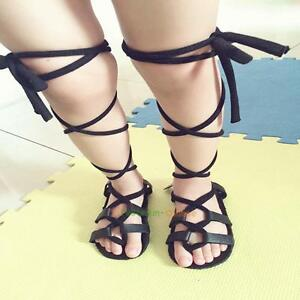 77374cda32d5 Image is loading Fashion-Baby-Girl-Leather-Lace-up-Gladiator-Sandals-