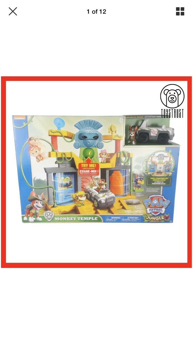 Paw Patrol Monkey Temple Playset Jungle Rescue with Pup Tracker & Mandy Boxed