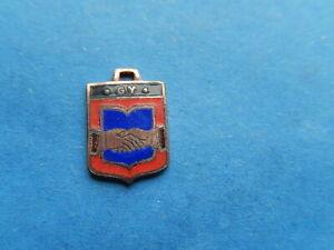 Vintage Enamel french Travel Shield Charms GY HANDSHAKING agreement VTUSA