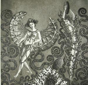 Capable Jacques Houplain Estampe Orig Danseuses Orientales Nues Femmes Imaginaires C1970