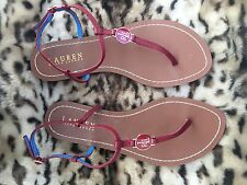 Ralph Lauren Flat Leather Red Sandals Brand New US 7b