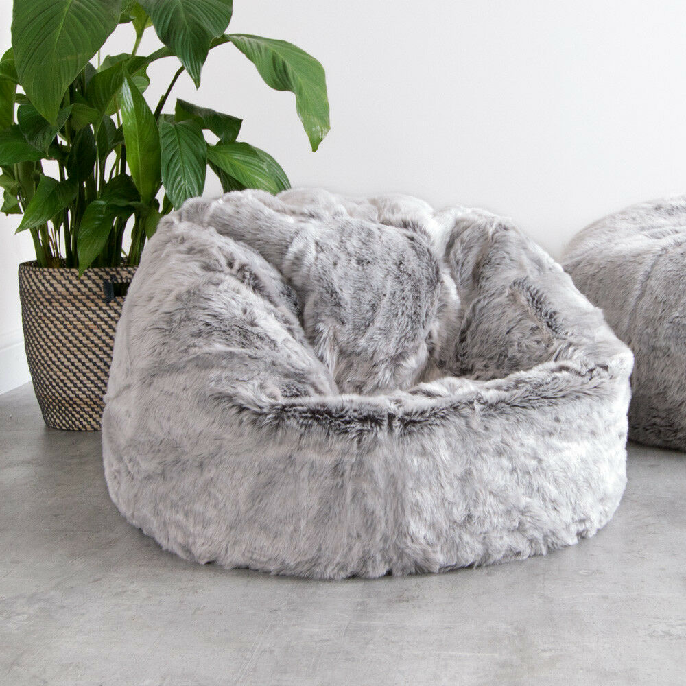 2cce2ada15 Icon Large Childrens Classic Faux Fur Bean Bags - Arctic Wolf Grey 64cm X  70cm for sale online