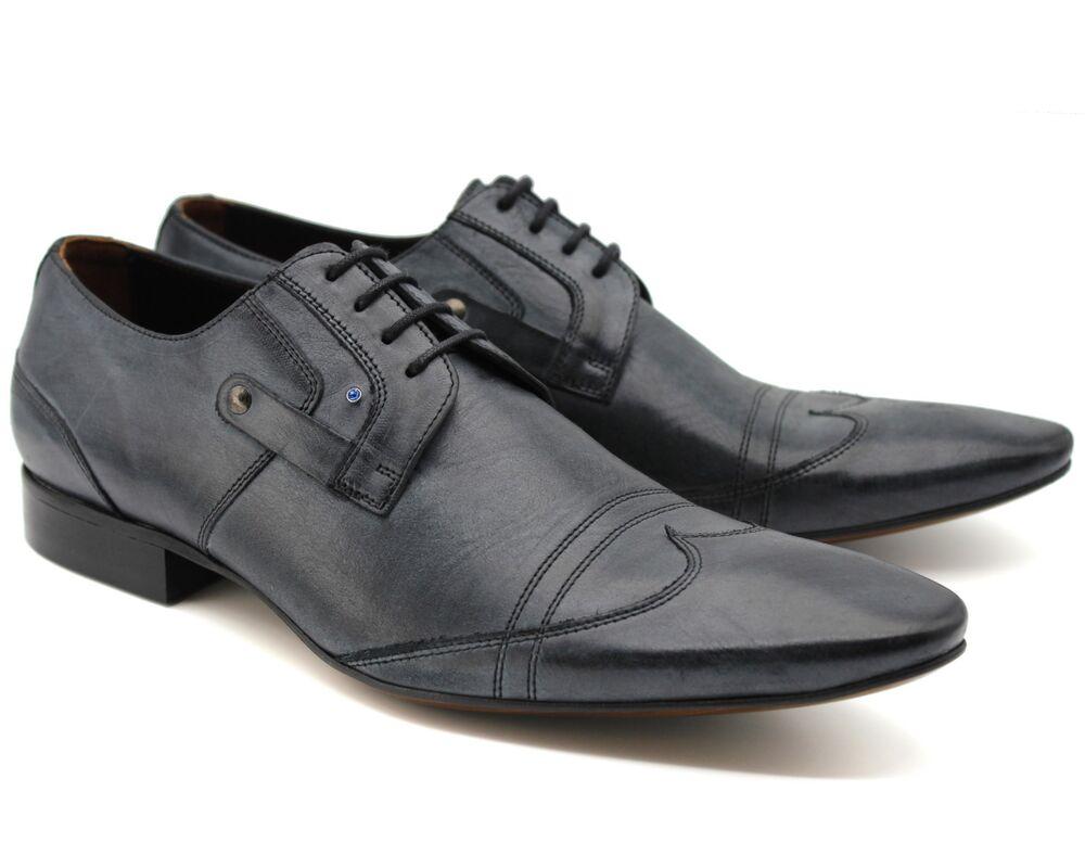 * 224k Uk 7 New Design Italien Homme Bleu Marine Ciré Cuir Véritable Smart Chaussures Eu 41