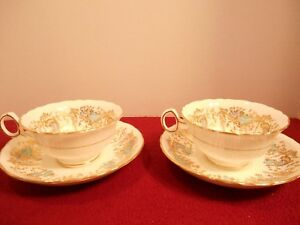 2-VINTAGE-ROYAL-CAULDON-CUPS-SAUCERS-034-GAINSBOROUGH-034-V9834