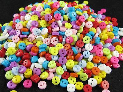 800pcs colorful plastic mini two hole buttons lot 6mm QLB