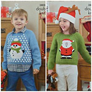 1e5d40609c48 KNITTING PATTERN Childrens Christmas Jumper Snowman Santa DK King ...