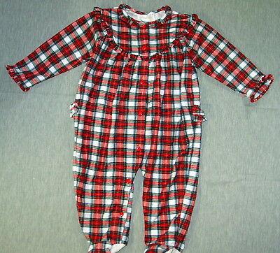 3-6 M Navy Green Plaid Holiday Notch Footed Sleeper Collar Pajamas Sleepwear