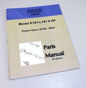 kohler k181 l181 8hp engine parts catalog manual exploded views image is loading kohler k181 l181 8hp engine parts catalog manual