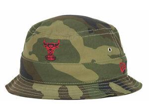 dbc7859f3 Chicago Bulls NBA New Era Hardwood Classics Camo Bucket Hat Cap size ...