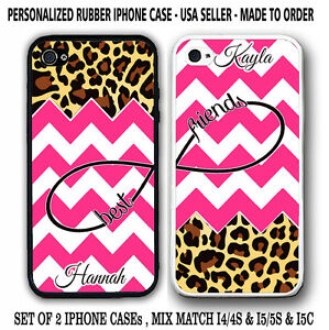 HOT PINK CHEVRON LEOPARD CHEETAH BFF Best Friends CASES For iPhone 6S 6 5S 5 5C