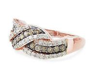 Amazing 100% 10k Rose Gold Chocolate Brown & White Diamond Fashion Ring .74ct