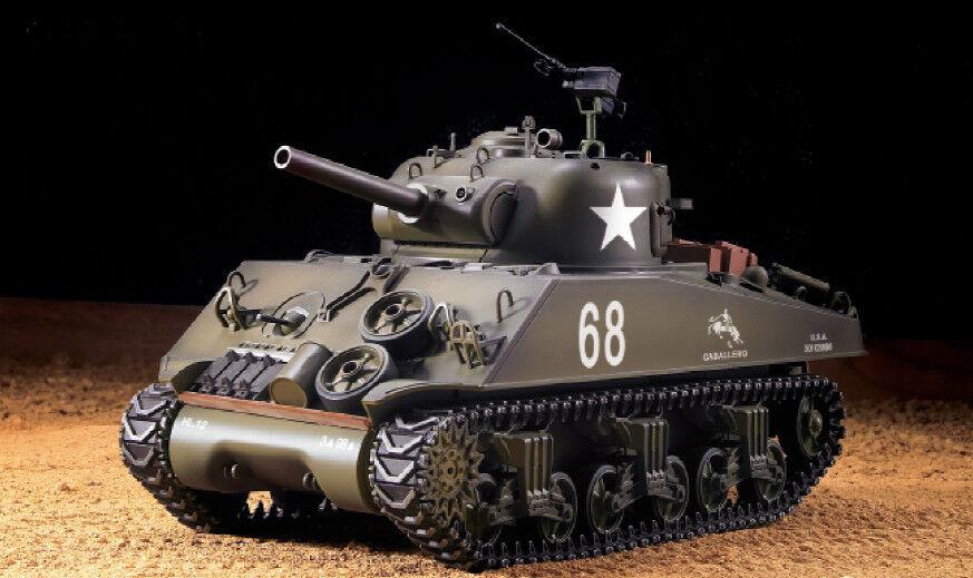 RC Panzer US M4A3 Sherman Heng Long 1:16 mit Rauch&Sound+Metallgetriebe +2,4Ghz