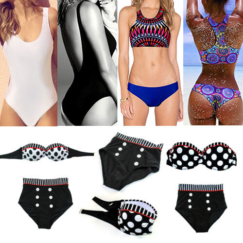 Vintage Stripe Retro Push Up Bandeau Swimsuit Swimwear High Waist Bikini Bra Set