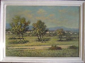 :: France Oil Painting Mediterranean Landscape Antique Old Oil Painting Signed lb2