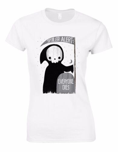 Spoiler Alert Everyone Dies Funny Halloween Death Grim Reaper Woman Tshirt AL70