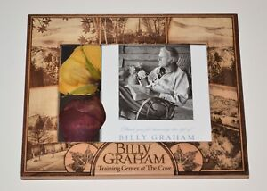 BILLY GRAHAM Framed Memorial Card with 2 PRESSED ROSES From COVE CASKET WREATH