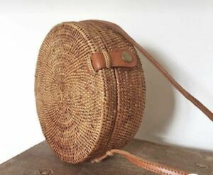 Image is loading Handwoven-Bali-Round-Rattan-Straw-Bag-with-Button- 2e97a7874d2aa