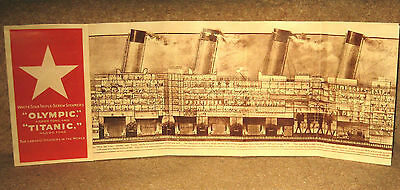White Star Line 1912 Titanic fold-out deck layout booklet